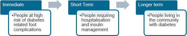 Priorities: Immediate (People at high risk of diabetes related foot complications), short term (People requiring hospitalisation and insulin management) and longer term (People living in the community with diabetes)