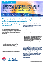Meaningful conversations with young people with palliative care needs as they transition to adult health services