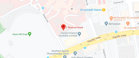 Street map showing ACI address: 67 Albert Avenue, Chatswood, NSW, 2057