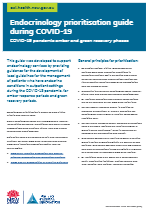 Download Endocrinology prioritisation guide during COVID-19